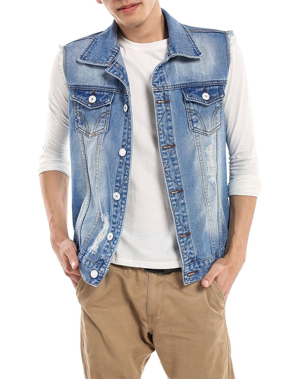 Men S Fashion Sleeveless Lapel Denim Vest Jacket Light Blue C912mo6mbkv Sleeveless Denim Jackets Denim Vest Men Denim Vest Outfit [ 1500 x 1154 Pixel ]
