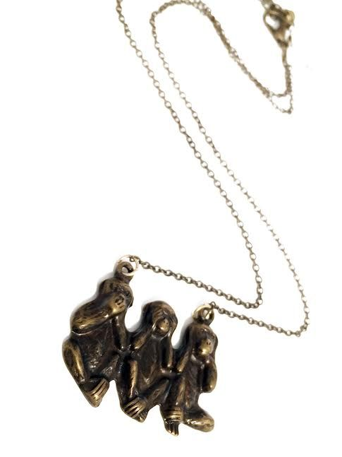 These three monkeys have a very important message, flaunt this necklace if you agree! Available in store and online.