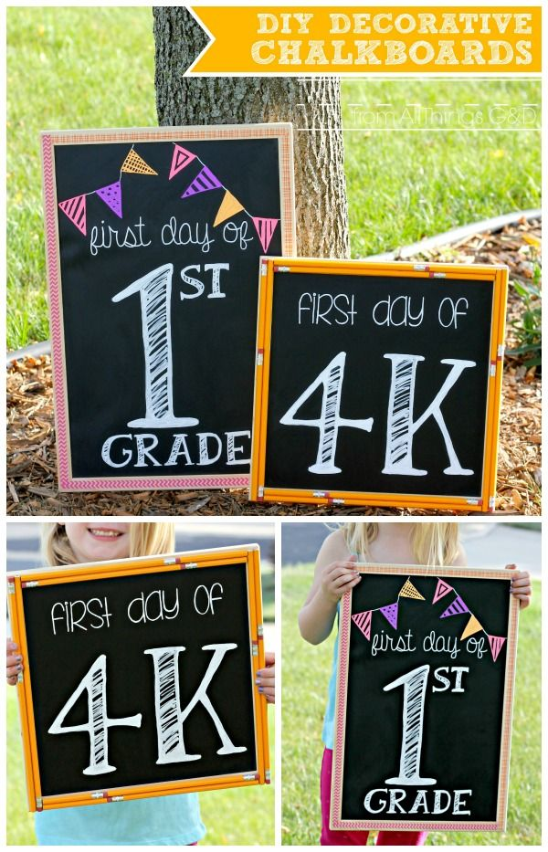 "Decorative Chalkboard Signs Diy Decorative Chalkboardsperfect For ""first Day Of School"