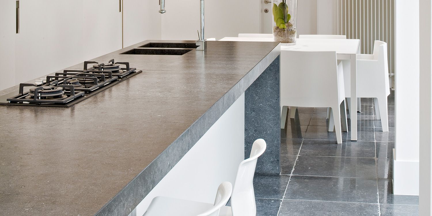 contemporary kitchen island | Belgian Blue stone worktop with 80mm ...