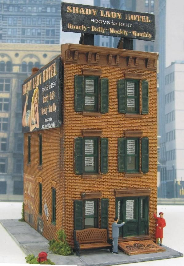 Model Train Building ~ Shady Lady Hotel HO scale by D A