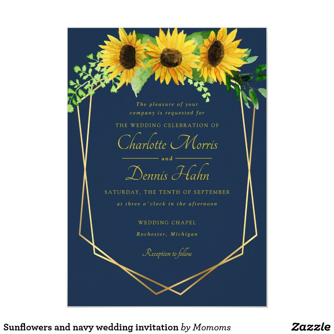 Sunflowers and navy wedding invitation in