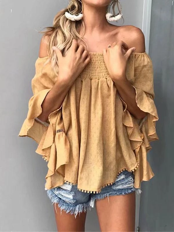 Solid Color Off-the-shoulder Backless Falbala Blouses&shirts Tops in 2020 | Blouse designs, Tops, Blouses for women