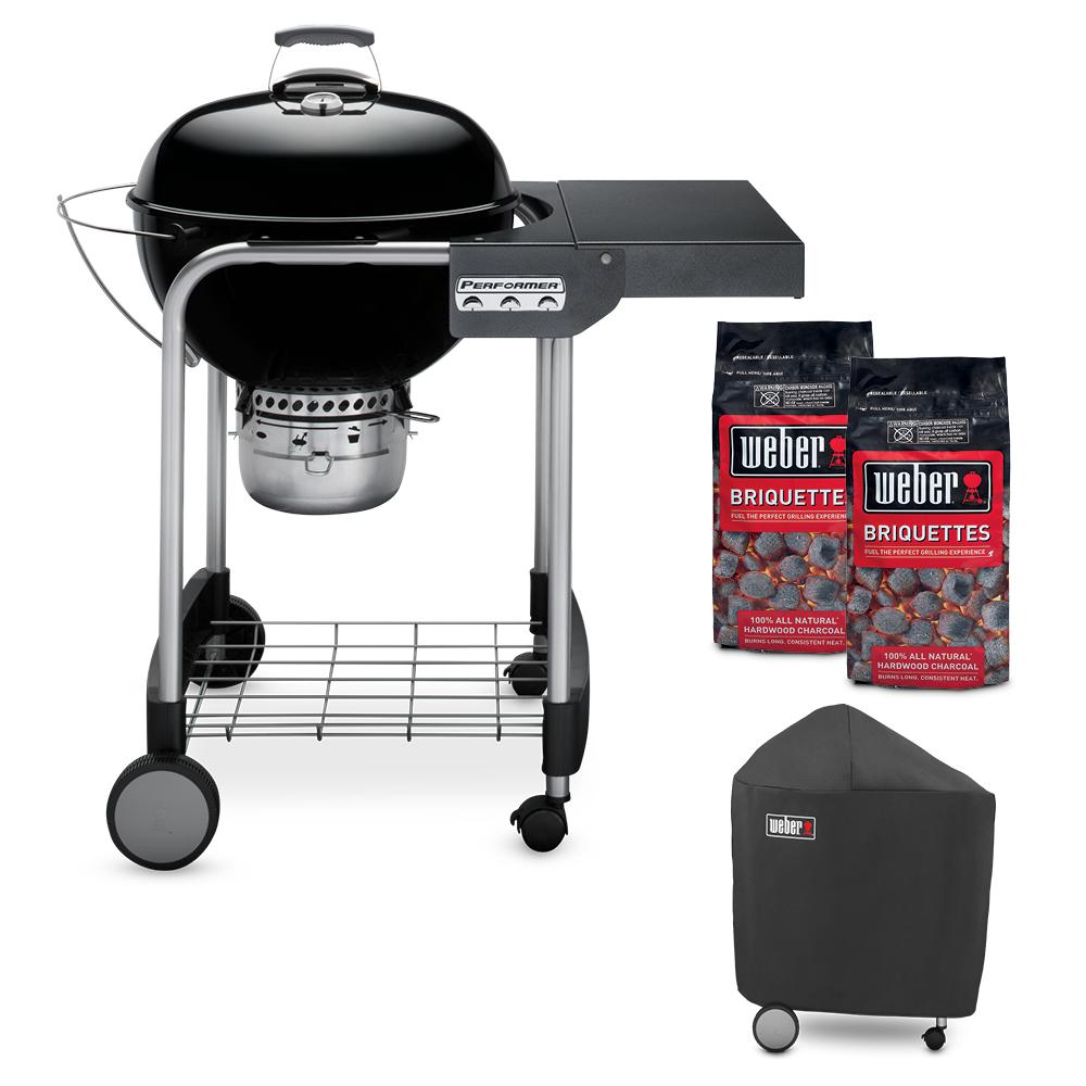 Weber 22 In Performer Charcoal Grill In Black Combo With Grill Cover And 2 Bags Of Weber Briquettes 18120 The Home Depot In 2020 Charcoal Grill Grill Cover Grilling