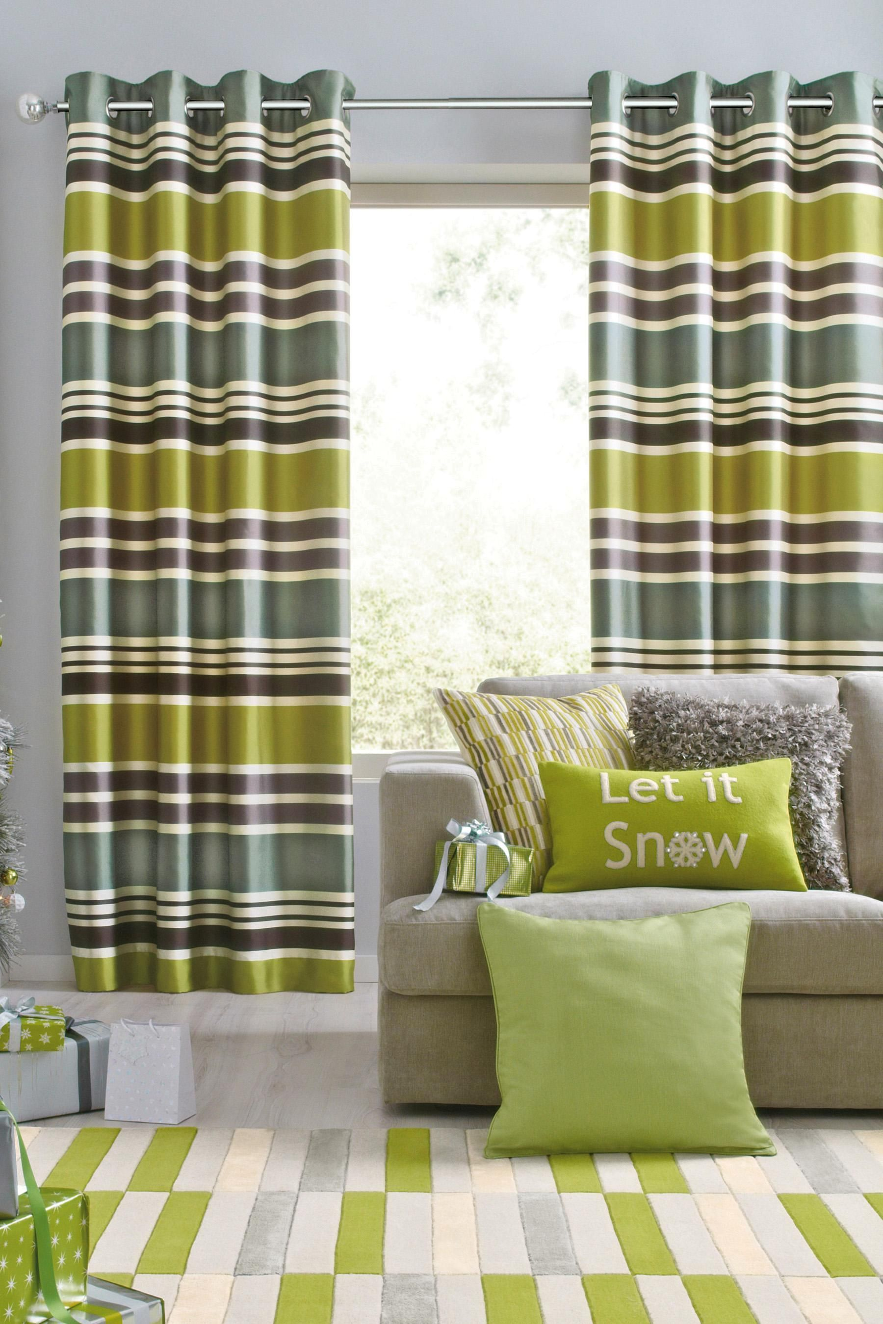 Buy green glamour stripe eyelet curtains from the next uk online