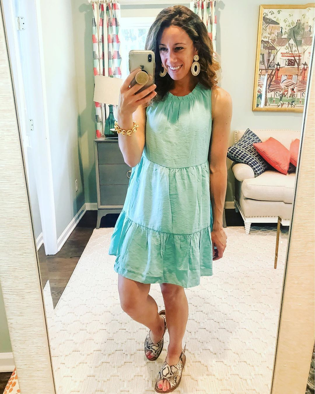 Sarah Attainable Style On Instagram Summer In A Dress I Love The Flowy Fit Of This Casual Swing Dress It S The Prettiest Swing Dress Dresses Style [ 1350 x 1080 Pixel ]