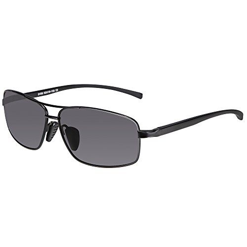 be38a680289 SUNGAIT Ultra Lightweight Rectangular Polarized Sunglasses 100% UV  protection (Black Frame Gray Lens