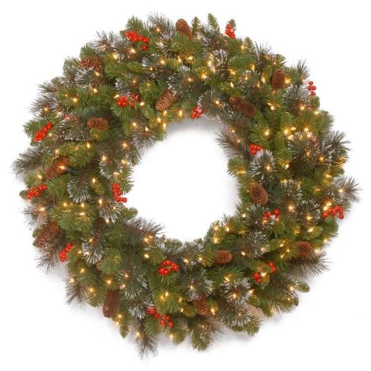 christmas door wreath lighted wall decor battery operated white led lights - Battery Lighted Christmas Decorations