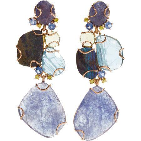 Federica Rettore Aquamarine, Sapphire, Tanzanite, Lemon Quartz & Opal Drop Earrings