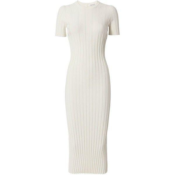 582c86d2ebb5 Helmut Lang Women s Ivory Knit Midi Dress ( 575) ❤ liked on Polyvore  featuring dresses