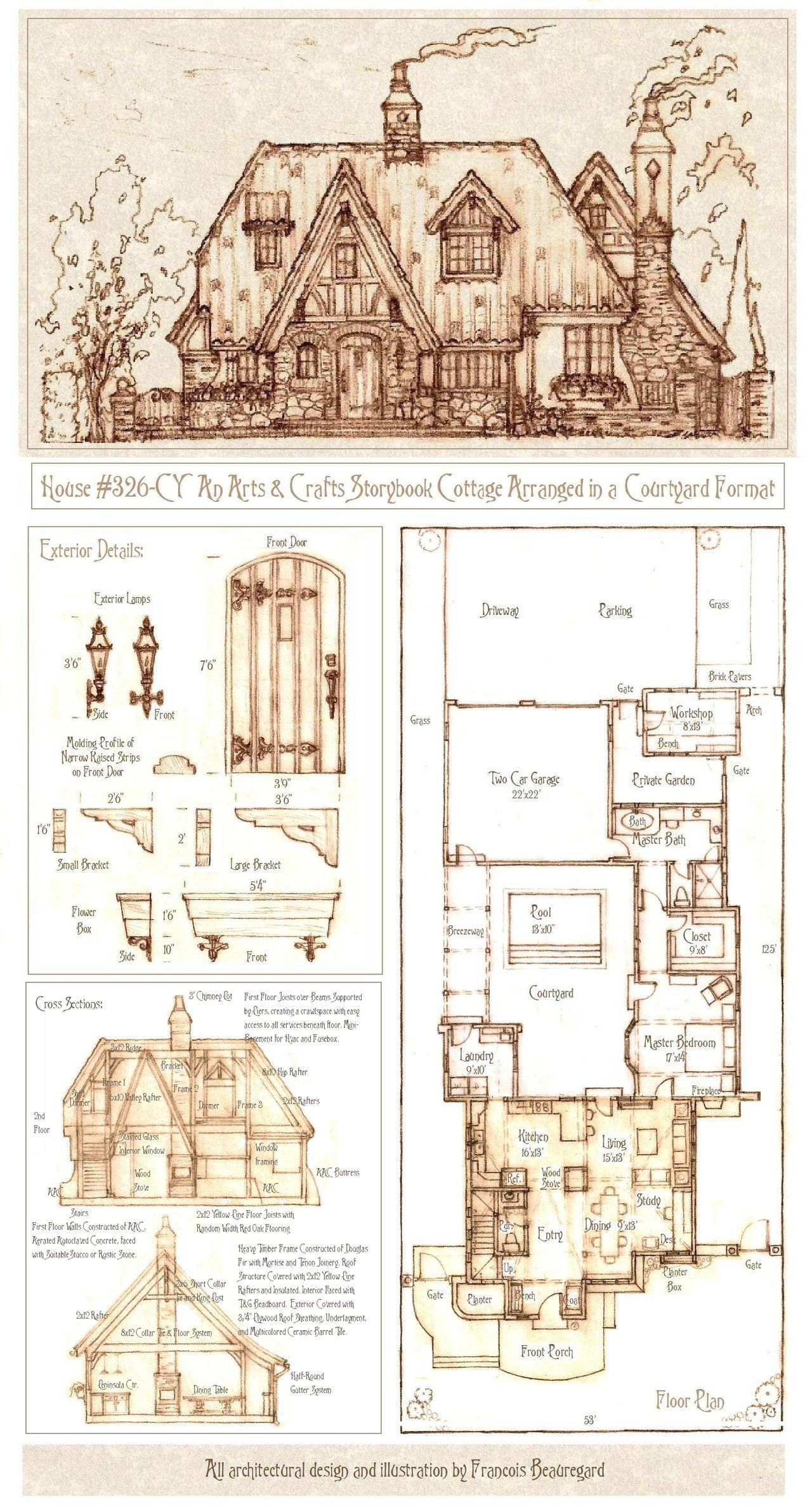 House 326 Cy Cottage Plan Courtyard House Plans Storybook Cottage
