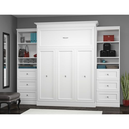 Bestar Queen Wall Bed With Two 25 Storage Units And Drawers