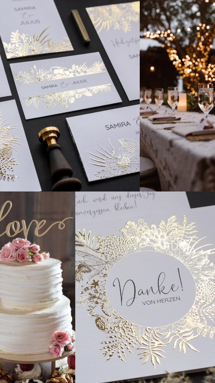 exklusive Hochzeitskarten online gestalten und drucken lassen. Feinste Papeterie mit liebevollen Designs, exklusiv veredelt und brilliant gedruckt. #herzkarten #hochzeitskarten #einladung #hochzeitspapeterie #foliendruck