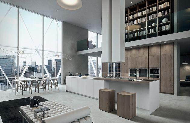moderne einbauküche kochinsel eichenholzfurnier ak04 arrital, Kuchen