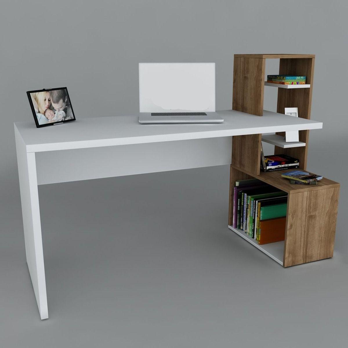 Escritorio de pc con repisas flotantes buscar con google for Muebles de oficina blancos