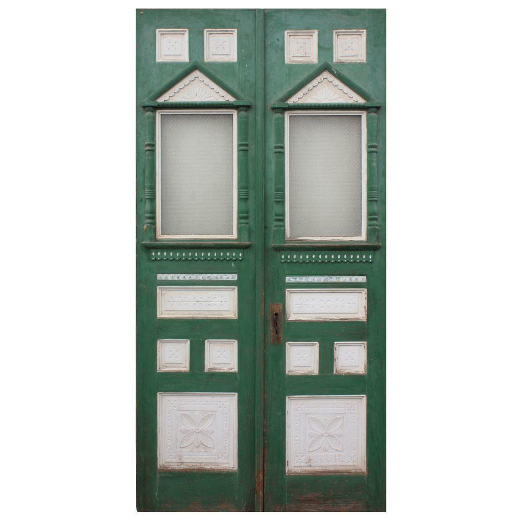 "Fantastic Reclaimed 48"" Eastlake Exterior Double Doors, c.1880."