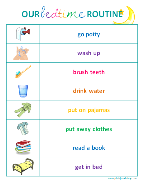 Toddler Bedtime Routine Chart | Sarnia Mom Source | Kids ...
