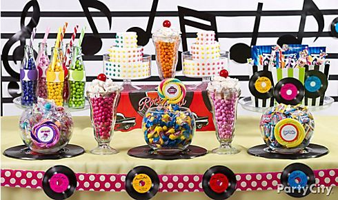 records attached to table linens | Grease theme party ideas ...