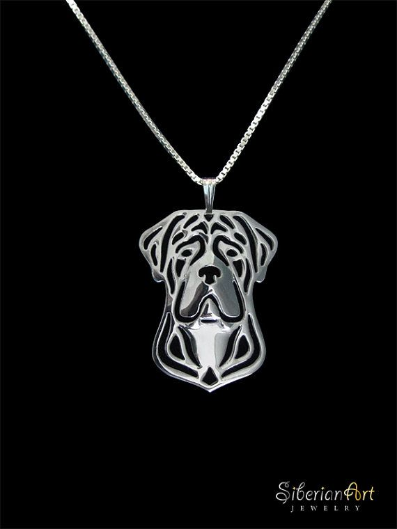 Cane Corso Natural Ears Sterling Silver Pendant And Necklace