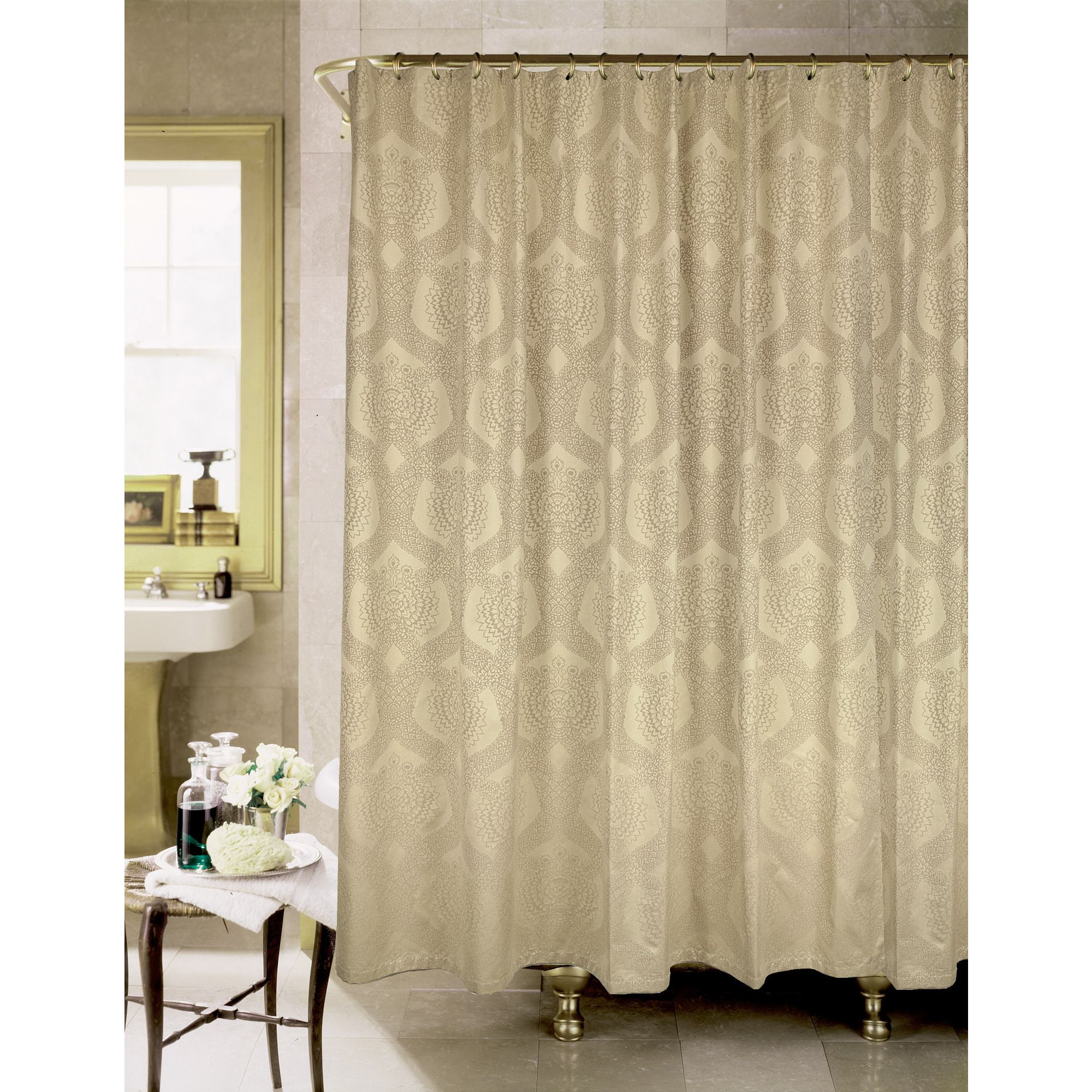 This High Quality Shower Curtain Features A Beautiful Neutral Tone Design Is Crafted From 100 Percent Cotton For Soft Touch And Long Lasting