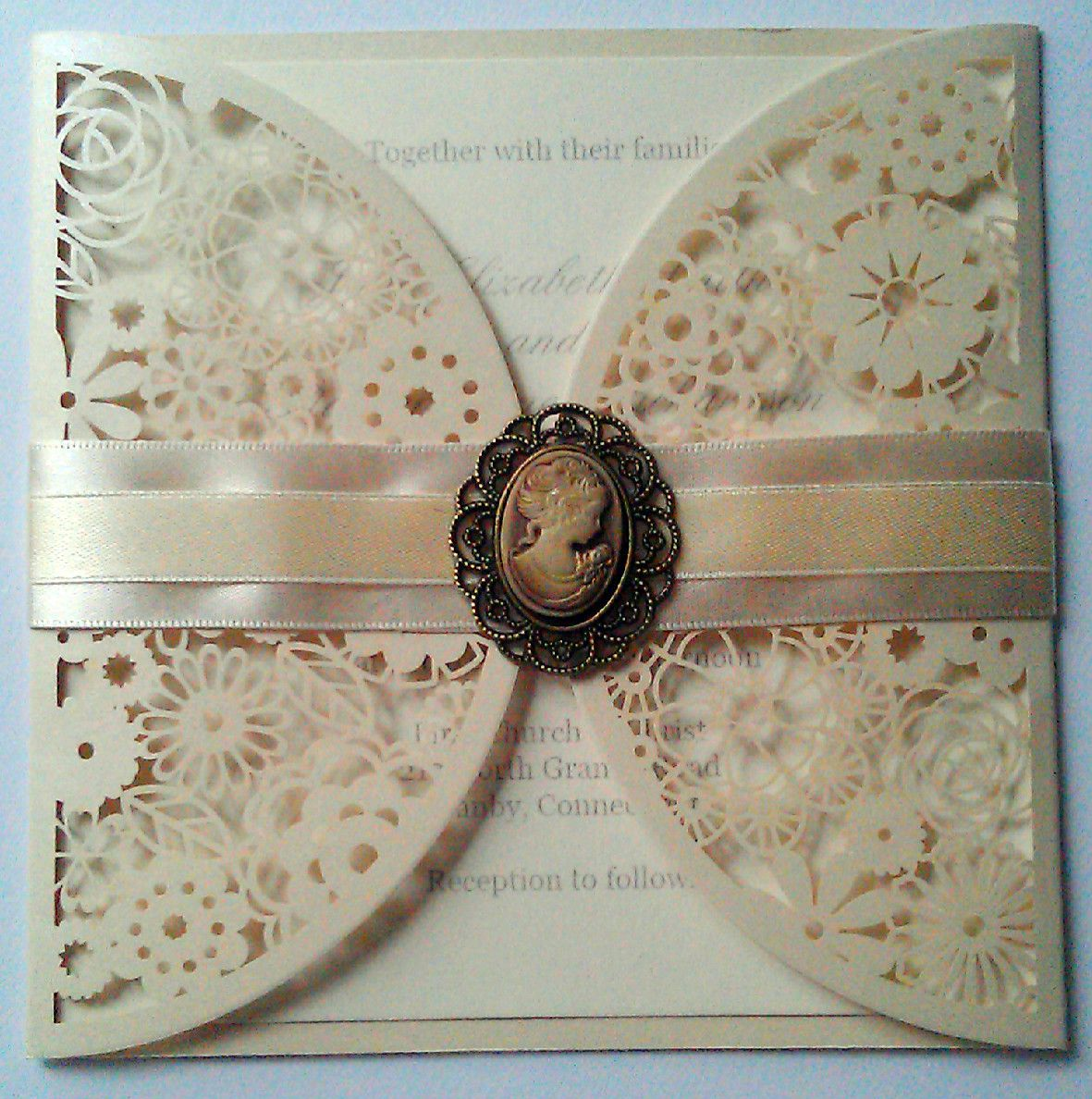 Vintage Cameo Ivory Wedding Invitation By Craftydesigner Laser Cut