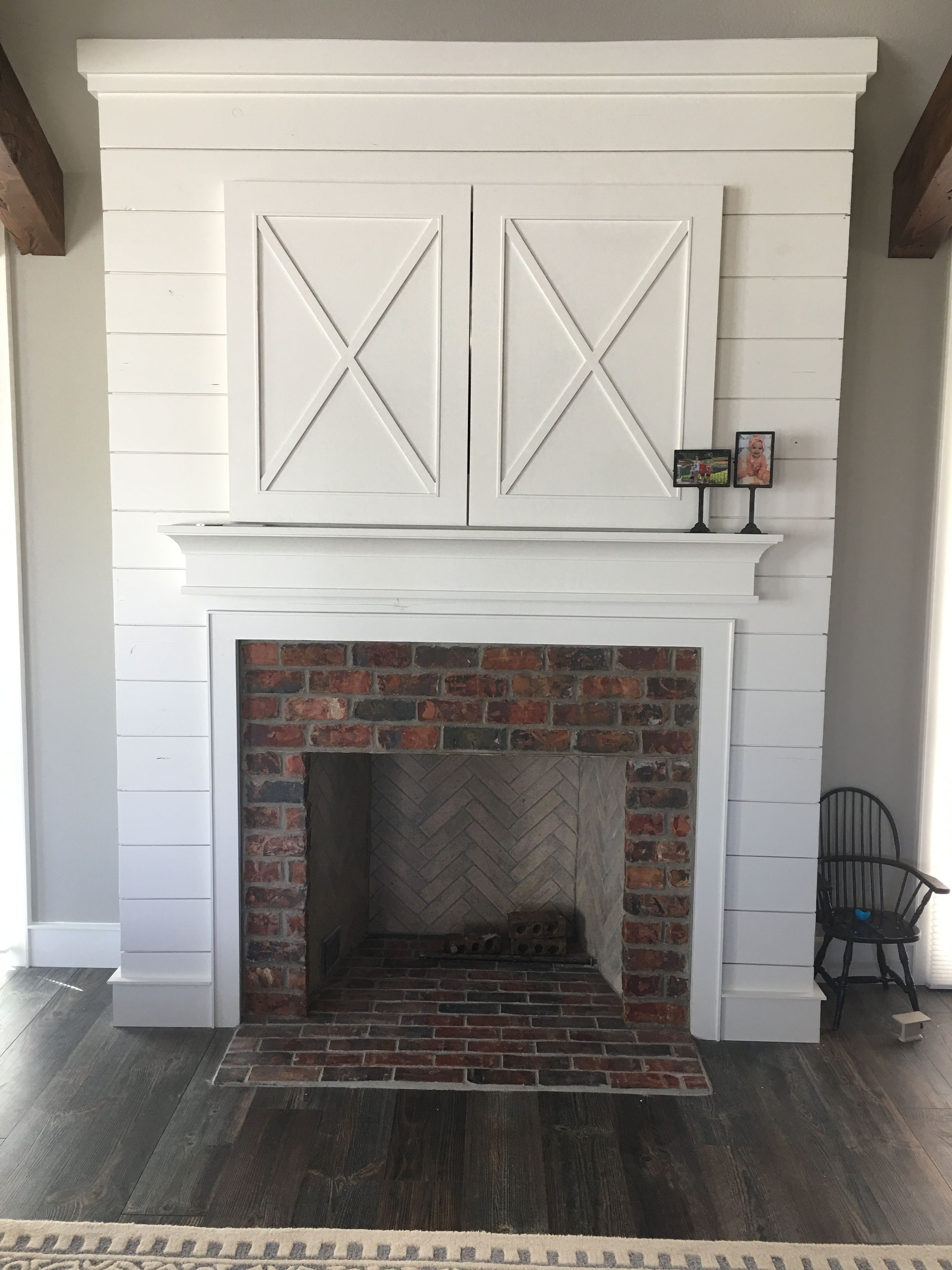 Fireplace I Love Floor Level And Real Brick Also Shiplap Fireplace Basement Living Rooms Basement Remodeling