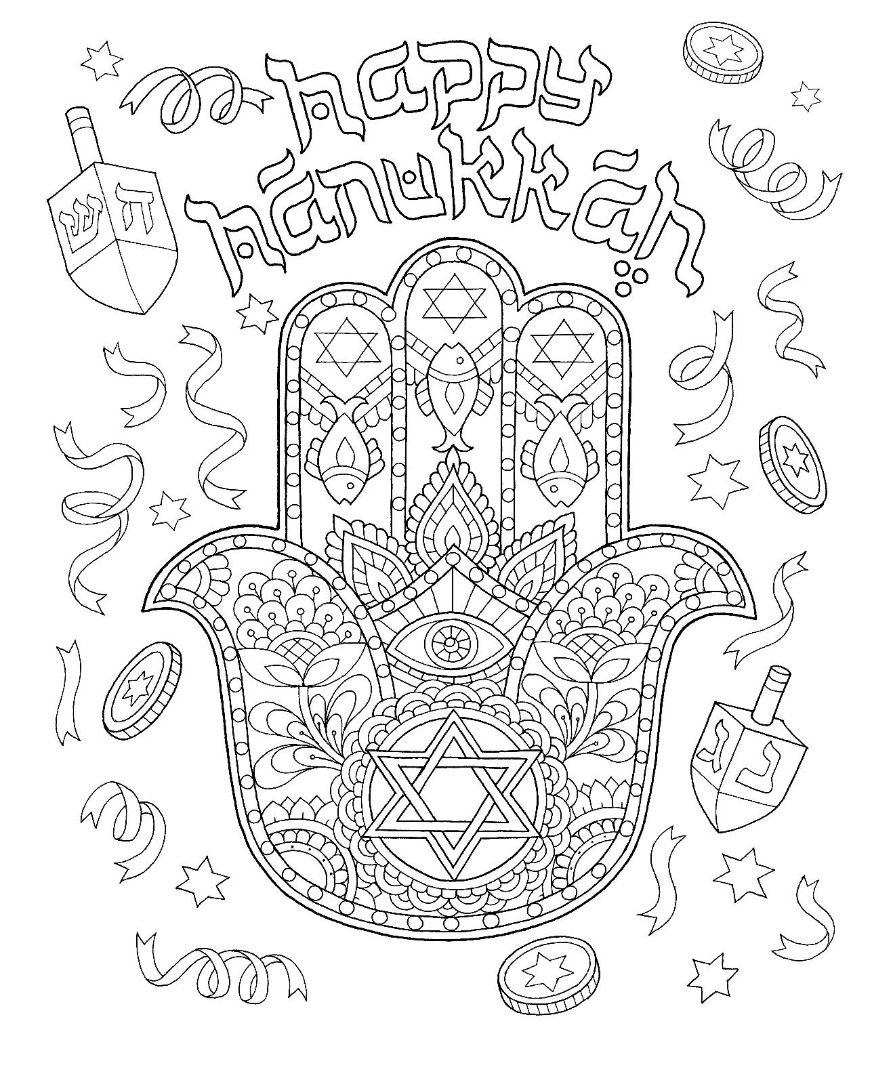 Hanukkah Hamsa Hand Coloring Page Coloring Pages Happy Hanukkah