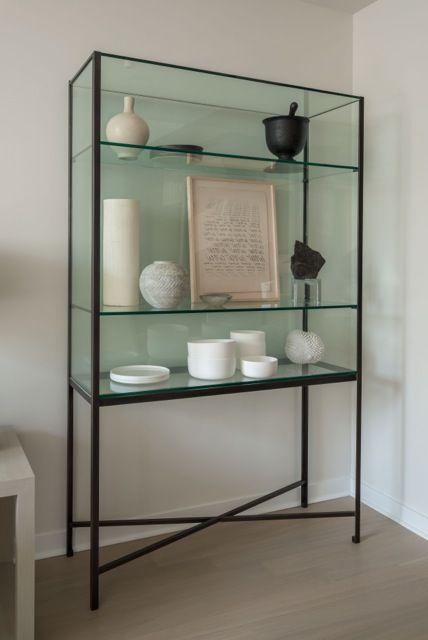 Steel and Glass Etagere, ruby beets