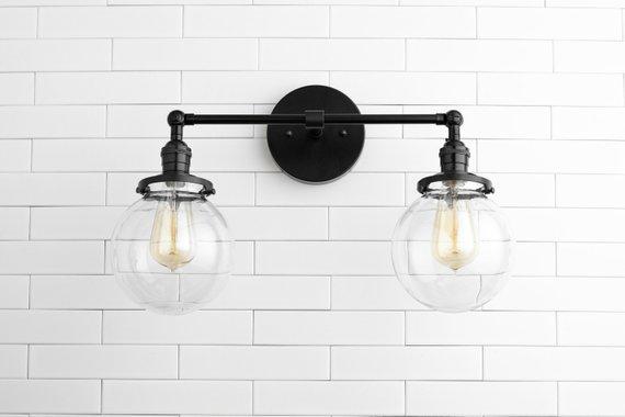 Clear globe light globe vanity light black light - Black bathroom lighting fixtures ...
