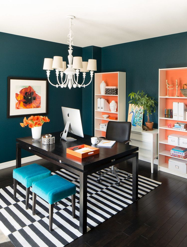 Pops Of Orange Compliment Teal Walls, Black And White Striped Rug, And The  Perfect