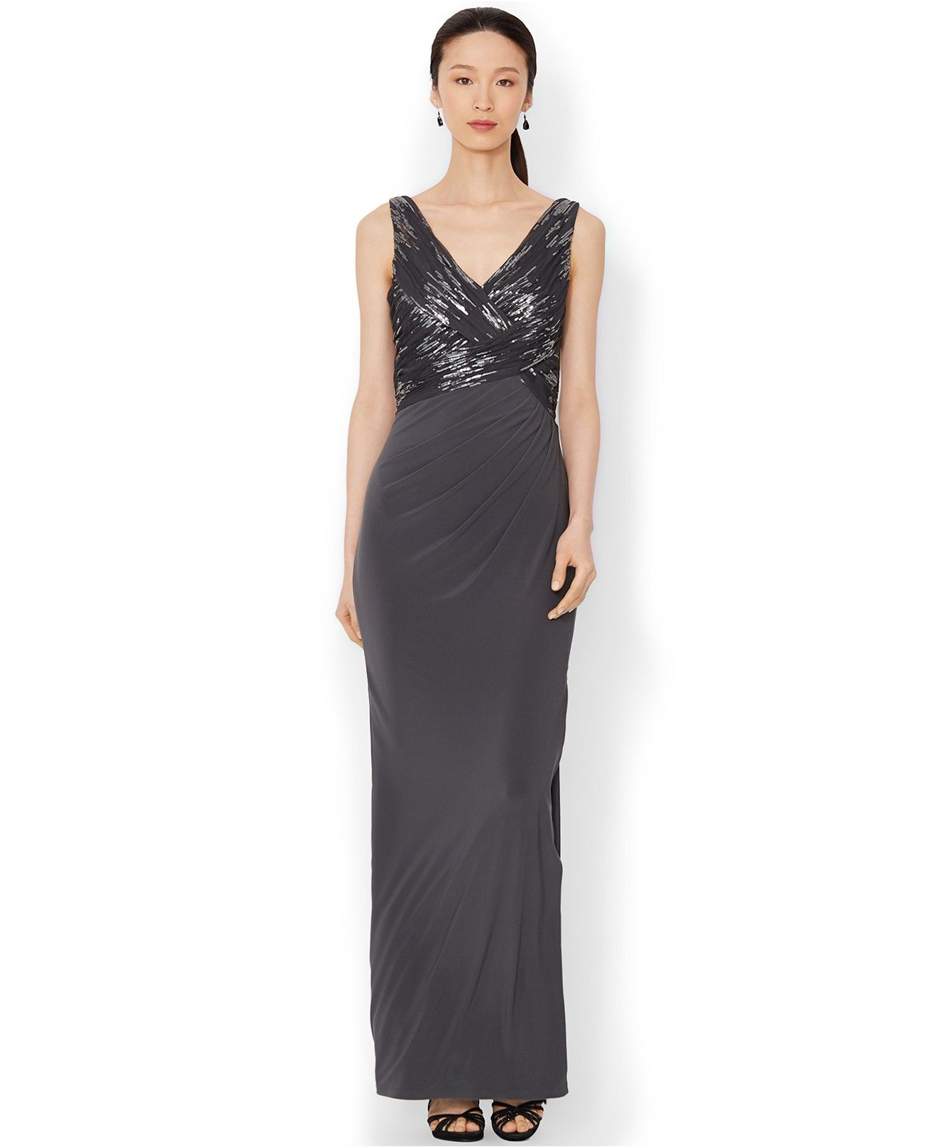 Lauren Ralph Lauren Petite Sleeveless V-Neck Sequined Gown - Dresses - Women - Macy's