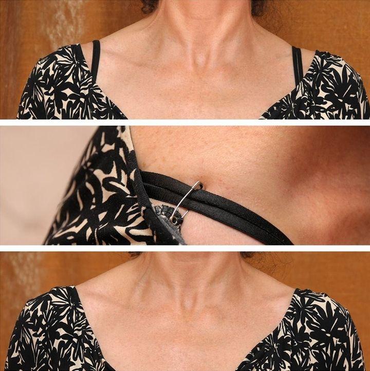 e530787c3ccf safety pin shirt   to do   Clothing hacks, Hide bra straps, Bra hacks