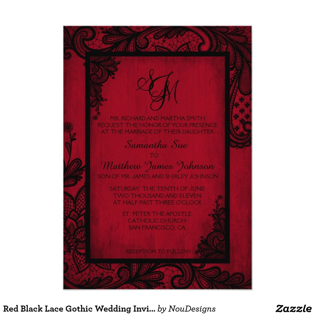 Red Black Lace Gothic Wedding Invitation Card | Ariele wedding ...