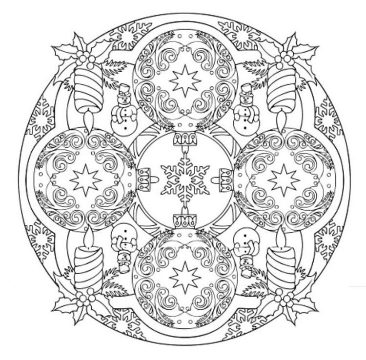 Mandala 608, Christmas Designs 3D Coloring Book, Dover