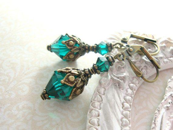 317b342cb Elegant emerald green Victorian Jewelry with antiqued brass filigree and  romantic Swarovski crystals.