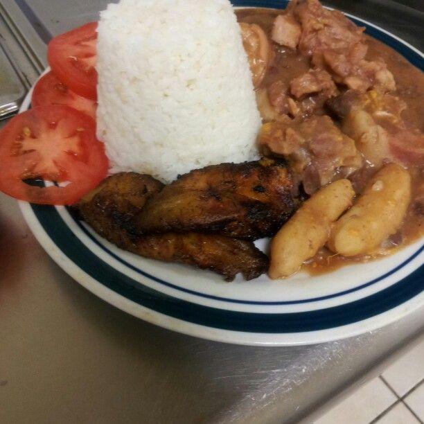 stew peas with white rice  jamaican cuisine caribbean