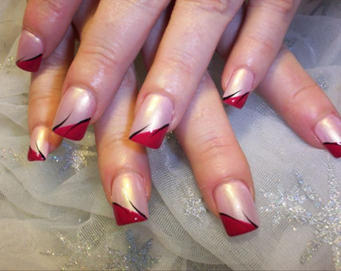 Image detail for -red tip with black lines mix nails design Instead ...
