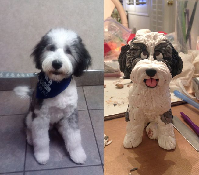 Adorable Sheepadoodle Old English Sheepdog Poodle Mix Winston And His Special Figurine Lots Of Fun Deta Old English Sheepdog English Sheepdog Poodle Mix