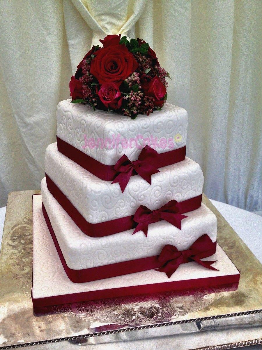Burgundy Wedding Cake Burgundy wedding cake, Wedding