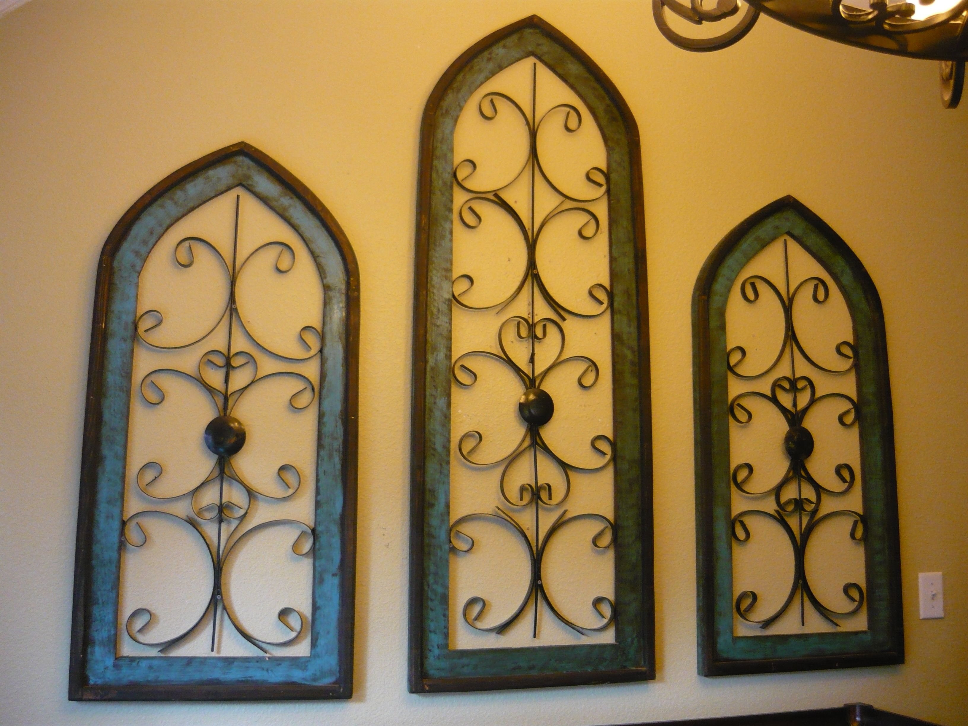 Set of 3 Wood / Iron cathedral style Windows. Spanish Hacienda ...