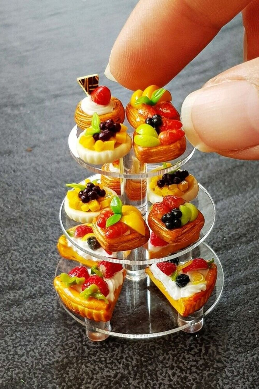 10x Loose Mini Tart Pie Dollhouse Miniatures Food Cake Bakery Mixed Fruit Sweet