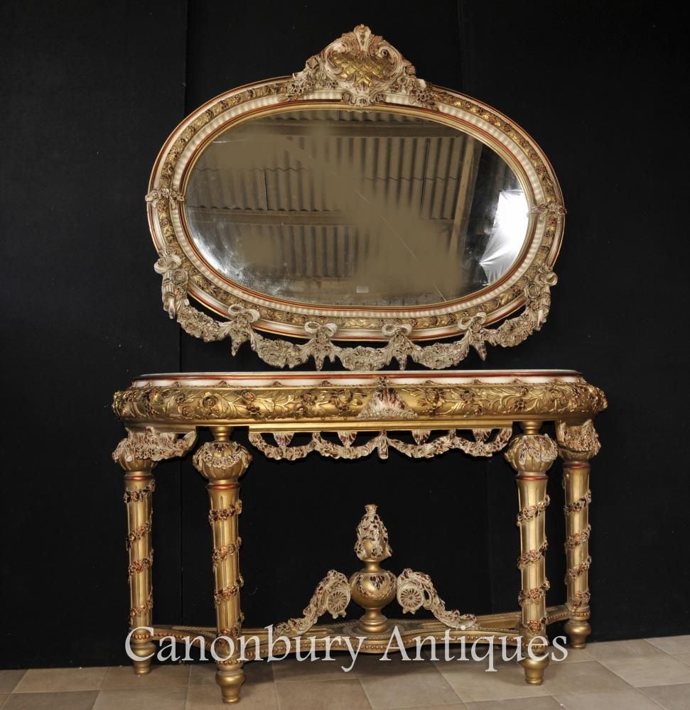 Stunning french louis xvi style console table and mirror set with stunning french louis xvi style console table and mirror set with florid rococo flourishes geotapseo Images