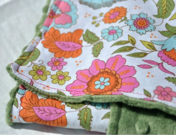 Pink Fowers Baby BlanketGreen Minky by TheAmberRoseEmporium, $28.50