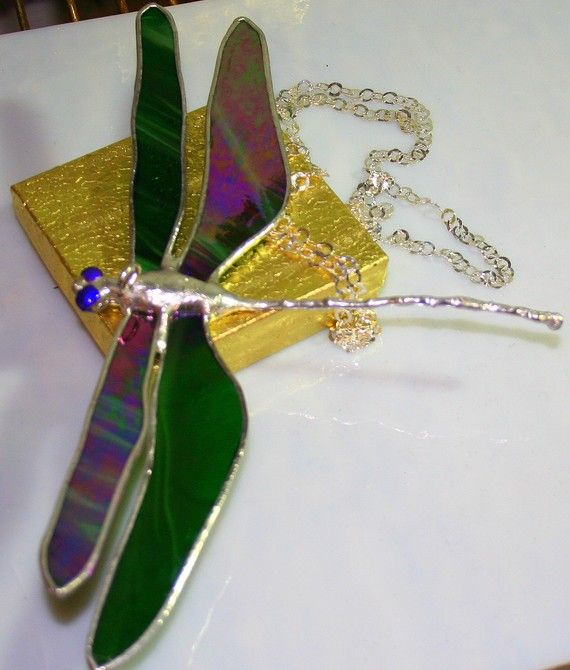 Deep Green iridescent Large Dragonfly by Glassquirks on Etsy, $35.00