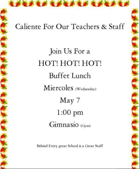 Luncheon Invitation To Staff For Teacher Appreciation Week Download