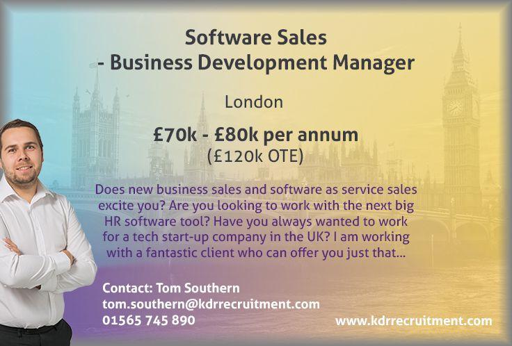 New Job Software Sales Business Development Manager