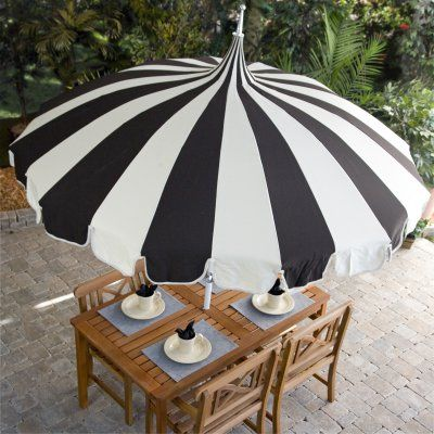 Black And White Stripe Pagoda 8 5 Ft Patio Umbrella Patio