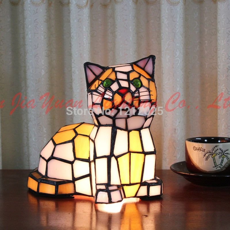lovely style table is This cat hand lamp tiffany that xerdCBoW