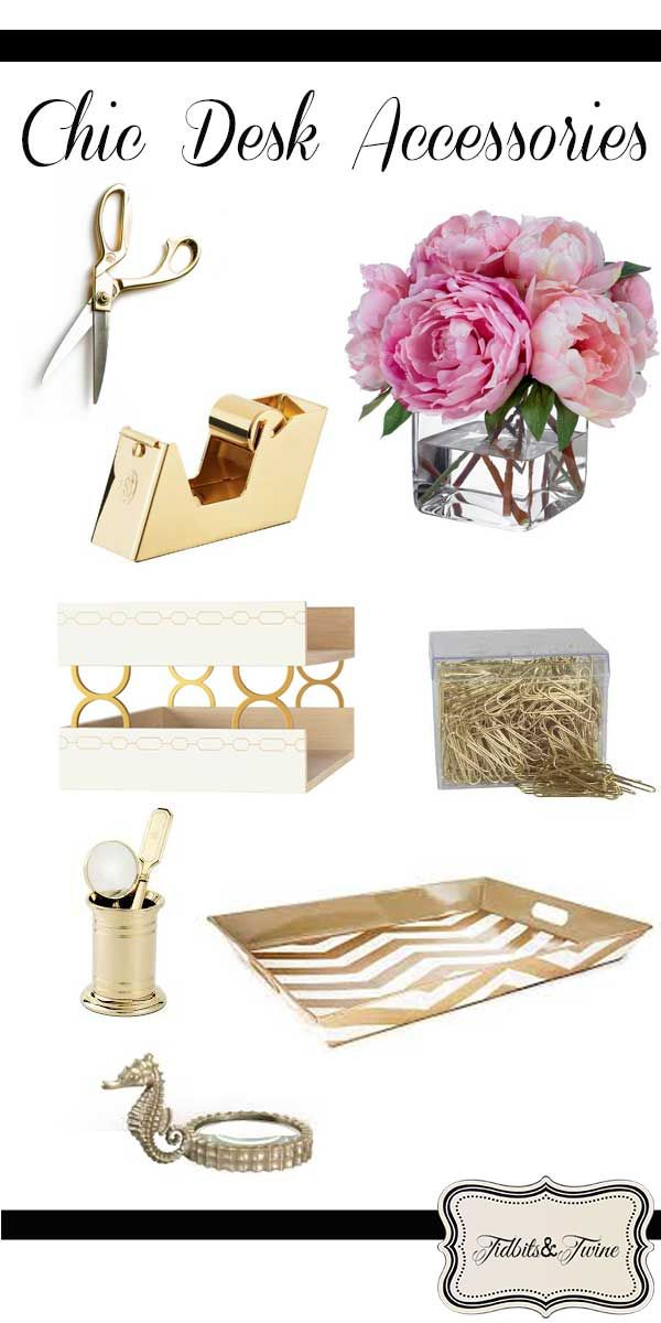 New Pink and Gold Desk Accessories