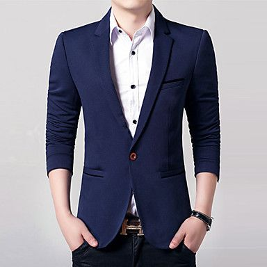 Men's+Long+Sleeve+Regular+Blazer+,+Acrylic+/+Polyester+Pure+k058+–+USD+$+33.99
